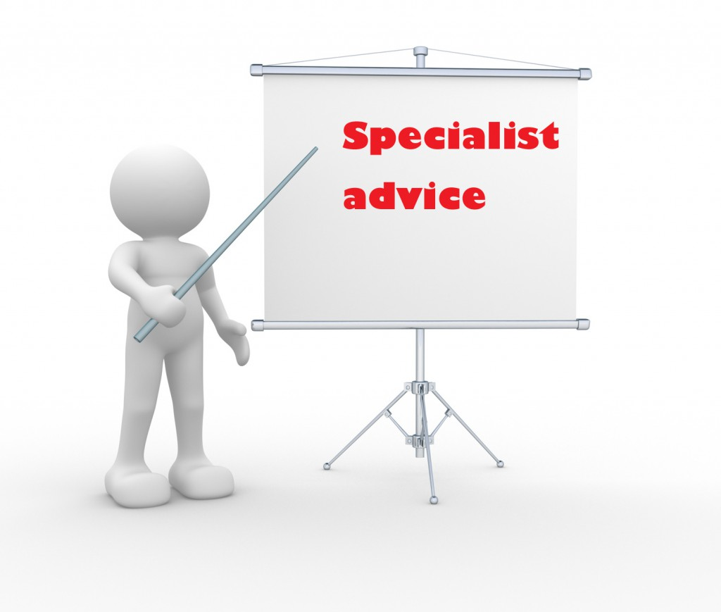 the advice of the specialist