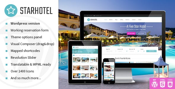 Starhotel - Hotel WordPress Theme