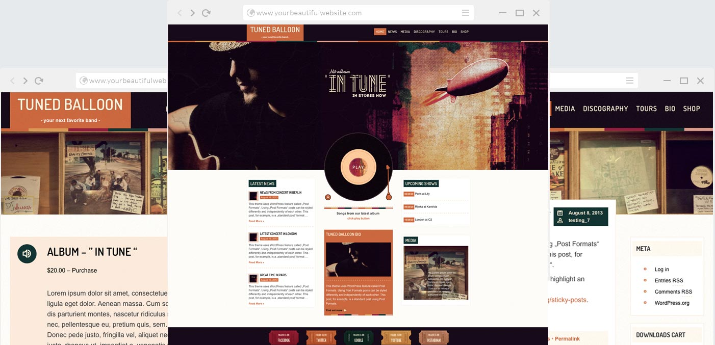 Tuned Balloon - Music WordPress Theme Music and Bands