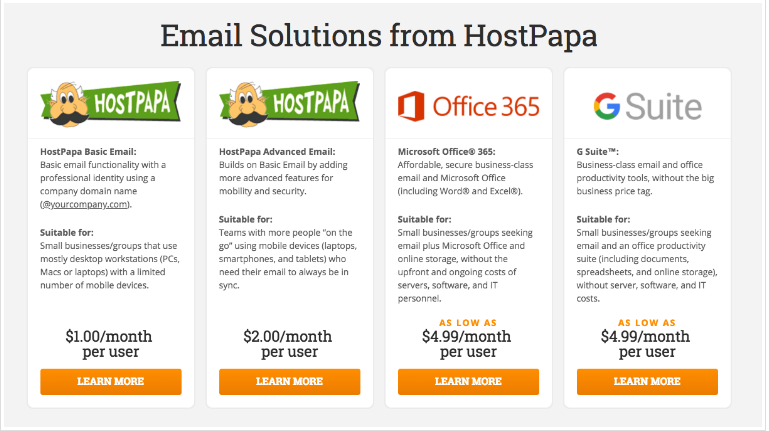hostpapa-email-options