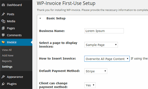 wp-invoice-settings